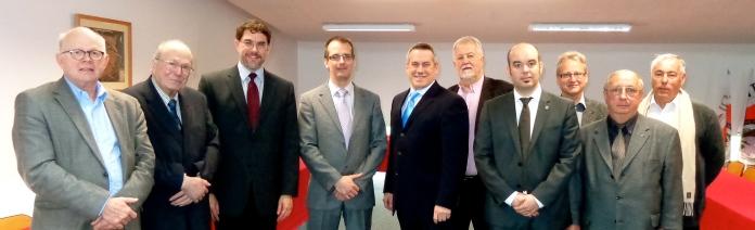 Accueil en Salle des Conseils de François Julien et Alain Doucet suivi d'un échange avec les partenaires institutionnels et la direction de l'ENIM